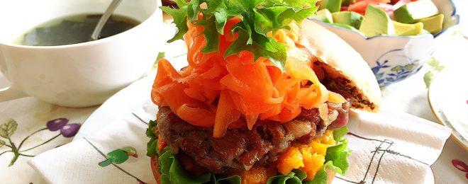 野菜たっぷりかぼちゃバーガー